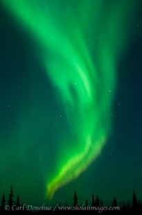 A Rising Arc aurora borealis display in Wrangell St. Elias National Park, Alaska.