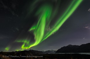 An aurora borealis display over Matanuska Glacier, Alaska.