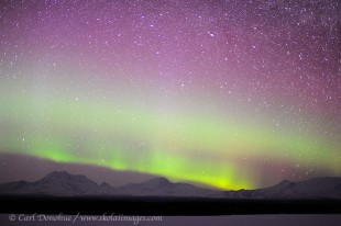 Aurora borealis over Wrangell Mountains, Alaska.