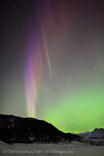 The northern lights over Wrangell Mountains, Alaska.