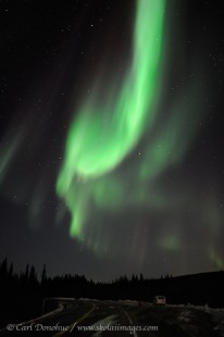 Aurora borealis over Elliot Highway, Alaska.