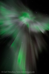 Corona Aurora borealis photo, or coronal northern lights photo.