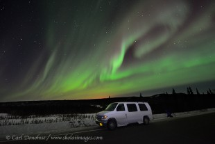 Travel photo of northern lights on Dalton highway Alaska.