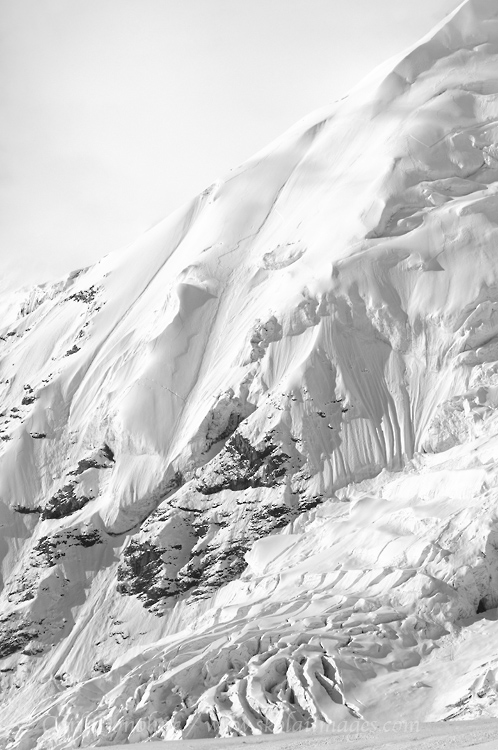 Black and white photo of a hanging glacier on the face of Mt. Jarvis, Wrangell mountains, Wrangell - St. Elias National Park and Preserve, Alaska.