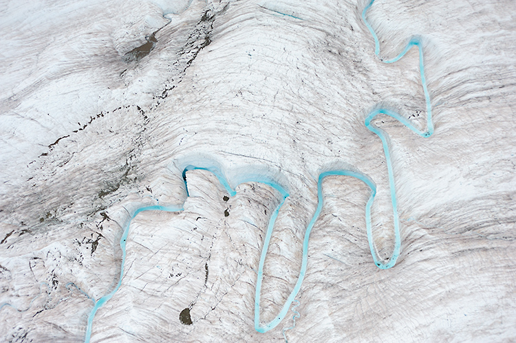 Aerial photo of Ogives on the Root Glacier, Wrangell - St. Elias National Park and Preserve, Alaska.