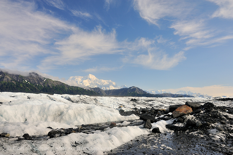 In Wrangell - St. Elias National Park and Preserve, Mt. St. Elias towers above the Malaspina Glacier.