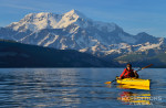 Sea kayaking in Icy Bay near Mt. St. Elias, Wrangell - St. Elias National Park, Alaska.