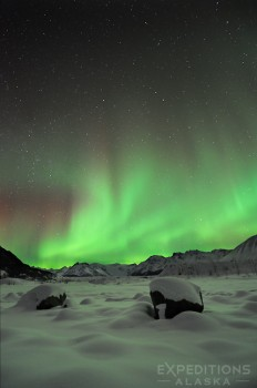 Wrangell - St. Elias National Park and the northern lights, Alaska.