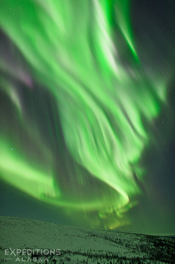 The northern lights soar above the mountains in arctic Alaska.