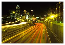 Atlanta skyline, by night, the Connector, Atlanta, Georgia