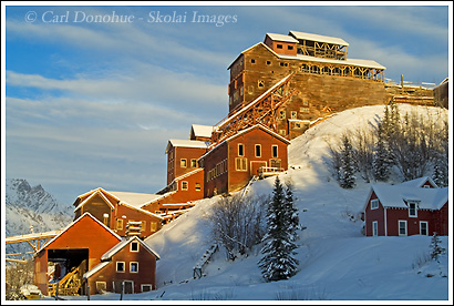 Kennecott Mill and mining operations in Kennecott in the winter, historic building and restoration project by the National Park Service, Kennecott, Wrangell St. Elias National Park, Alaska.