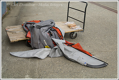 Damage done to an Advanced Elements kayak by a grizzly bear in Icy Bay, Wrangell St. Elias National Park, Alaska.