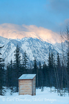 View of Mt Blackburn from the Nugget Creek outhouse, winter, Wrangell - St. Elias National Park and Preserve, Alaska.