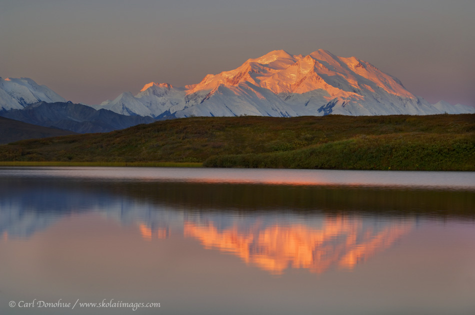 """""""Denali"""", officially known as Mt. McKinley, the highest peak in North America, stands above the Alaska Range, a small kettle pond returning a perfect reflection. Denali National Park, Alaska."""