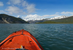 Kayaking in Icy Bay, toward Mt. St. Elias.