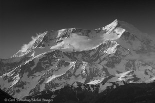 Mt. St. Elias black and white photo.