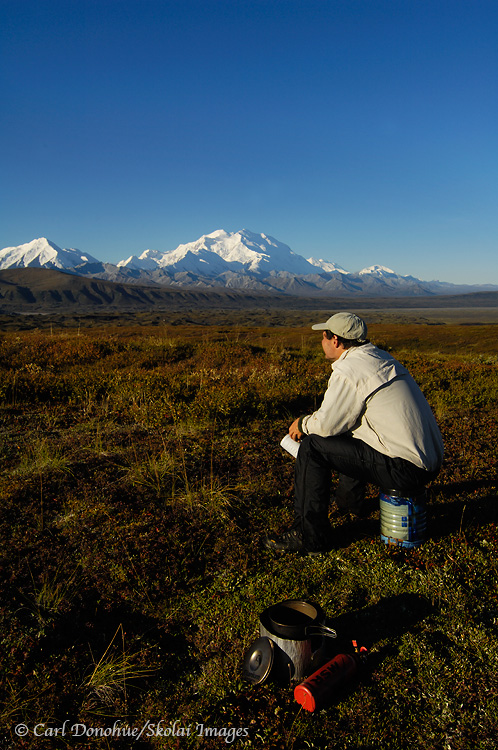 Backpacking, near Mt. McKinley, Denali National Park, Alaska.