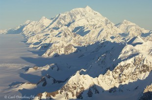 Aerial photo of Mt. St. Elias from above Bagley Icefield.