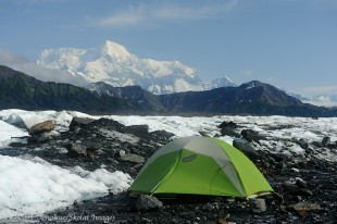 Camping on Malaspina Glacier near Mt. St. Elias.