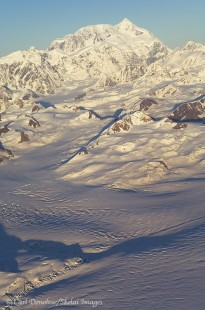 Vertical aerial photo of Mount Saint Elias.