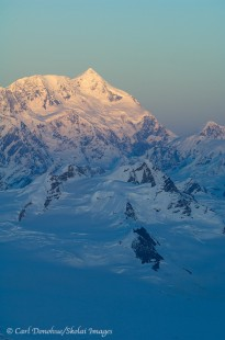 Aerial picture, alpenglow on Mount Saint Elias.