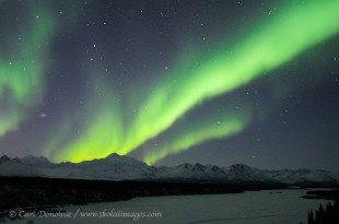 The northern lights and Denali, Mt McKinley, and the Little Susitna River.