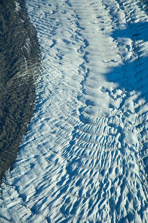 An aerial photo of ogives n Gates Glacier, in the Wrangell Mountains.Ogives, Wrangell - St. Elias National Park and Preserve, Alaska.
