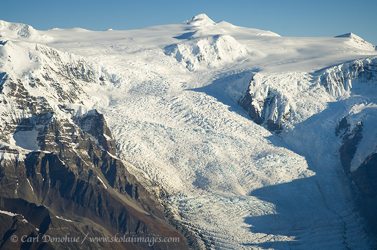 Photo of Stairway Icefall, a 7000' vertical wall of ice in the Wrangell mountains.